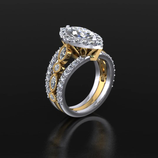 Diamond Ring with Vertical Stones