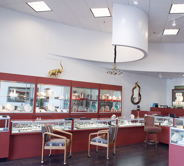 Interior of village jewelers for watch repair