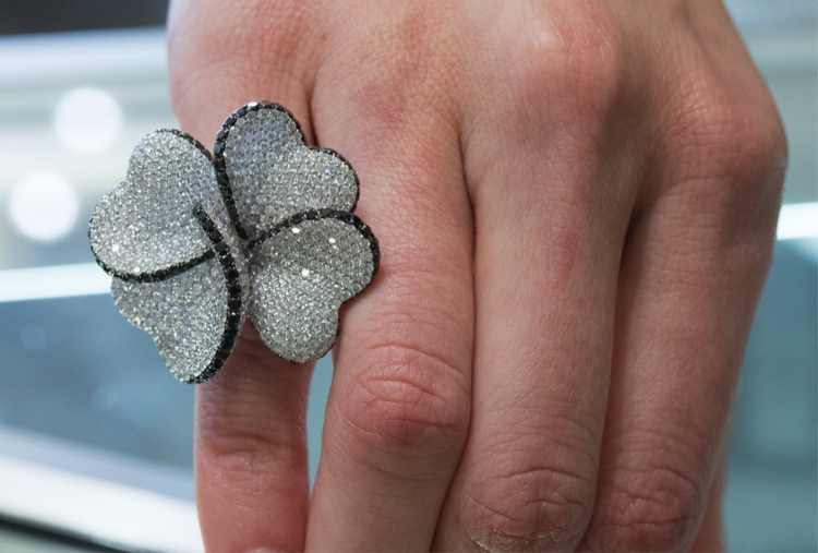 Black & White Diamond Floral Cocktail Ring