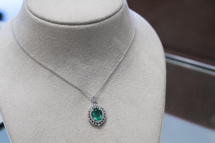 Custom Green & White Diamond & Stone Pendant