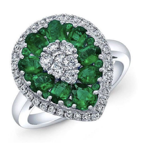 New emerald and diamond ring