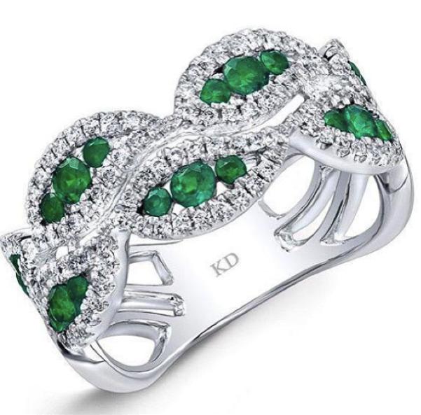 Modern diamond and emerald ring