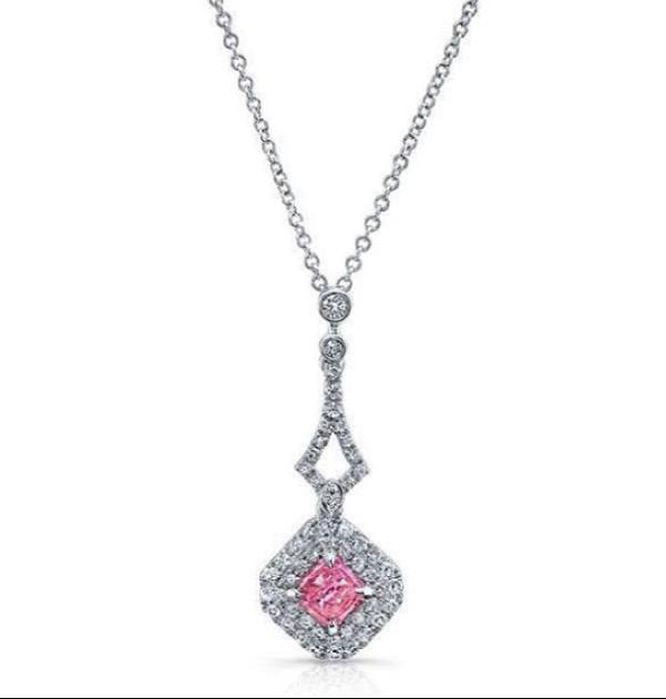 New Modern pink diamond necklace