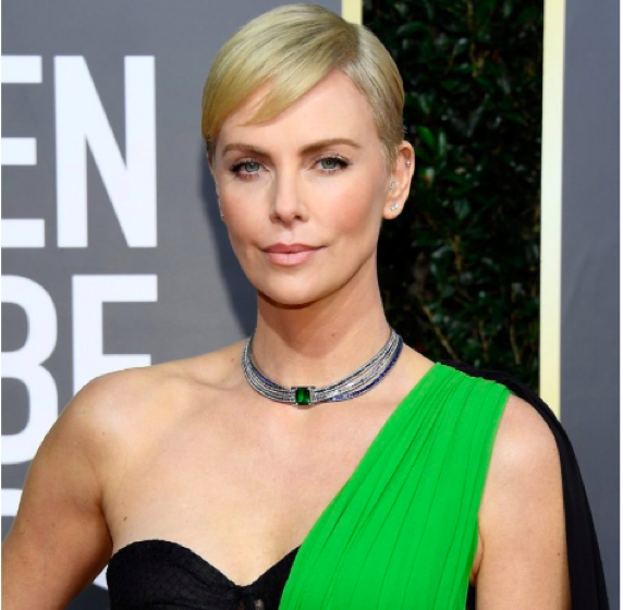 Charlize Theron with Spring jewelry