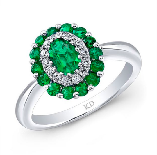 Engagement Ring with Colorful emerald Gemstones