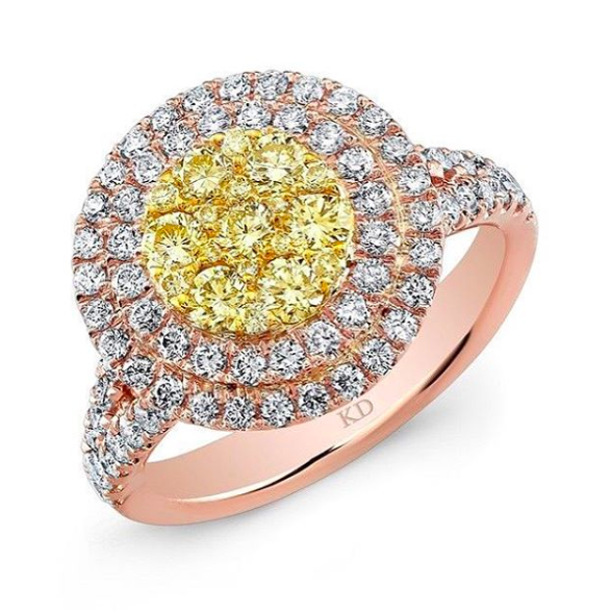 rose gold engagement ring with yellow diamonds