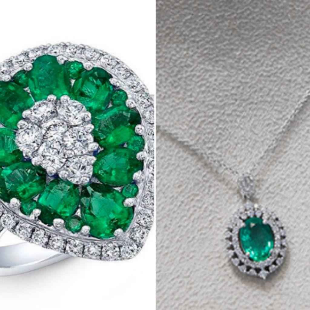 Emerald ring and necklace from jewelry store in Frisco, TX