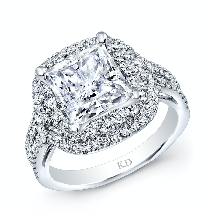 Engagement ring with a large center diamond