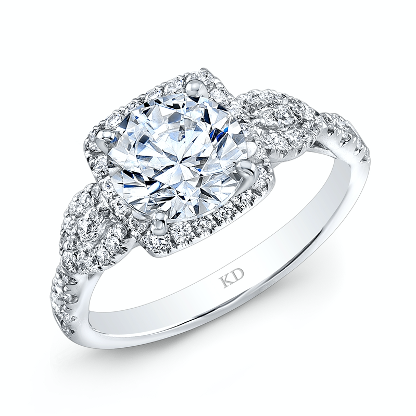 Large diamond ring with a white gold band