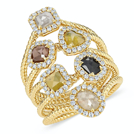 yellow gold unique ring with rough diamonds