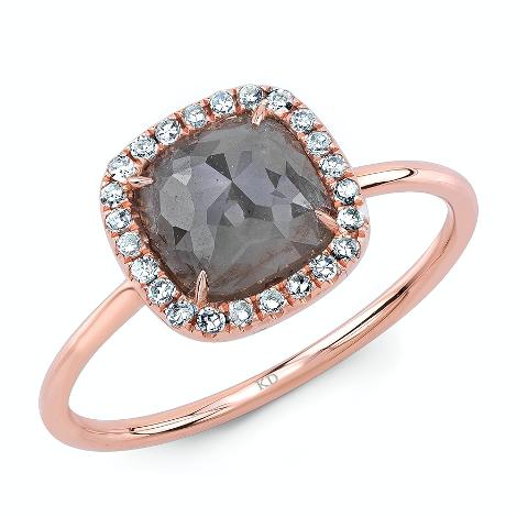 Rough gray diamond rose gold ring