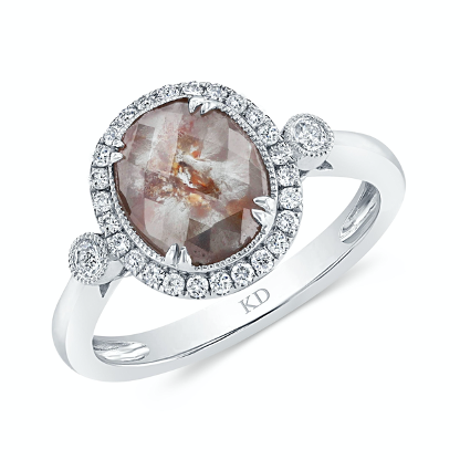brown rough diamond engagement with white gold