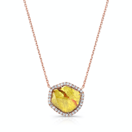 Rose gold and yellow diamond necklace